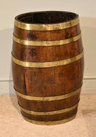 19th Century Oak & Brass Barrel / Stick Umbrella Stand (4 of 6)