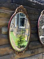 Pair of Quality Walnut & Parcel Gilt Oval Wall Mirrors (7 of 9)