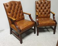 Pair of Leather Library Chairs (10 of 10)