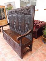 Country Oak Carved Settle Depicting Phoenix 1750 (9 of 13)