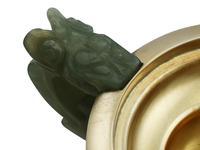 Sterling Silver, Nephrite and Rose Quartz Inkstand - Antique George V (1926) (11 of 24)