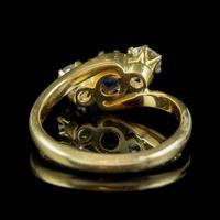 Antique Edwardian Sapphire Diamond Trilogy Twist Ring 18ct Gold Circa 1905 (6 of 8)