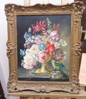 Oil on Canvas Still Life with Parakeet Artist George Rennie (11 of 11)