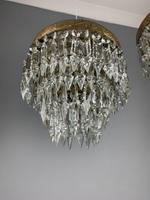 Pair of French 1930s Flush Ceiling Crystal & Brass Ceiling Lights, Rewired (7 of 9)