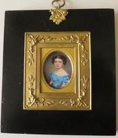 Miniature Portrait Young Girl in Period Frame C.1860 (5 of 5)