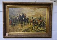 Antique Oil Painting - Wellington At Waterloo, The Dawn Of Day June 18th 1815 (After Robert Alexander Hillingford 1896) (8 of 8)