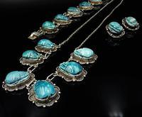 Art Deco Blue Porcelain Scarab Beetle Silver Full Set Suite - Necklace Earrings Bracelet (10 of 10)