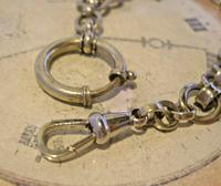 Antique Pocket Watch Chain 1920s Large Chrome Fancy Link Albert with Big Bolt Ring (7 of 12)