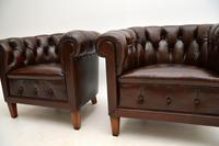 Pair of Antique Swedish  Leather Chesterfield Armchairs (5 of 9)