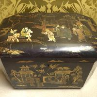 19th Century Chinese Export Ware Black Lacquer Work Box