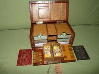 Unusual Oak Games Box - Bezique + Antique Cards + More (9 of 16)
