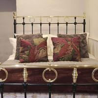 Black Victorian Brass & Iron Bedstead with Brass Circles (7 of 11)