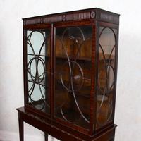 Edwardian Glazed Bookcase Cabinet on Stand Astragal Mahogany (2 of 11)