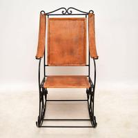Antique Wrought Iron & Leather Rocking Chair (12 of 12)