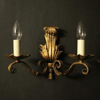 French Set of 4 Gilded Iron Twin Arm Wall Lights (2 of 10)