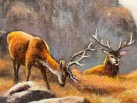 """Oil Painting Scottish Stags """"Denizens of the Highlands"""" Signed Wendy Reeves (11 of 45)"""