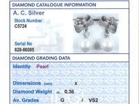 0.36ct Diamond & Pearl, 18ct White Gold Drop Earrings - Vintage c.1940 (8 of 9)
