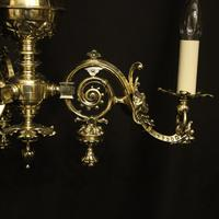 English Pair Of Triple Light Antique Gasoliers (3 of 10)