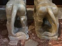 Pair Fine Early 20th Century Art Deco Italian Marble Male & Female Rampant Lions Sculptures (7 of 11)