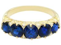 3.15 ct Basaltic Sapphire and Diamond, 15 ct Yellow Gold Five Stone Ring - Antique c.1910 (8 of 9)