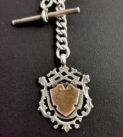 Victorian Silver Double Albert Chain, Watch Chain Fob (8 of 11)