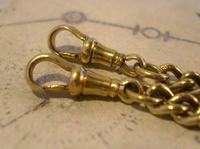 Antique Pocket Watch Chain 1890s Victorian large Brass Double Albert With T Bar (11 of 12)