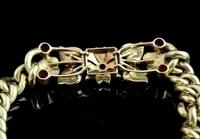 Antique 15ct Gold Ruby and Pearl Curb Bracelet, Floral (8 of 10)