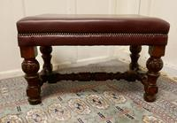 Large Victorian Oak & Leather Library Stool