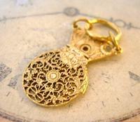 Georgian Pocket Watch Chain Fob 1830s Antique Brass Verge Balance Cock Fob (8 of 10)