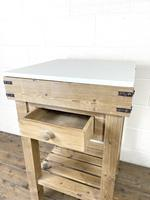 Rustic Wooden Butcher's Block with Marble Top (6 of 10)