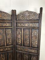 Vintage Indian Hardwood Three Panel Screen Room Divider (5 of 10)