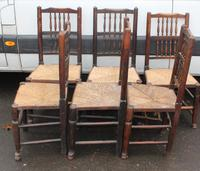1920's Set 6 Oak Ladderback Dining Chairs with Rush Seats. 4+2 Carvers (2 of 3)