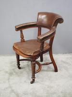 William IV Mahogany and Brown Leather Office Chair (2 of 7)
