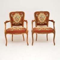 Pair of Antique French Tapestry Salon Armchairs (2 of 10)