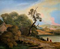 Large Stunning 19thc Arcadian Landscape Oil Painting in the 18th Century manner (2 of 13)