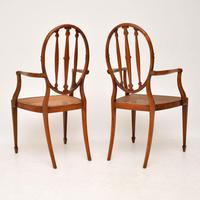 Pair of Antique Satinwood Cane Seated Armchairs (6 of 12)