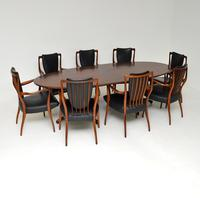 Rosewood & Leather Dining Table & Chairs by AJ Milne for Heals