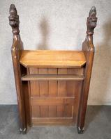 Victorian Carved Oak Gothic Church Pew (6 of 12)