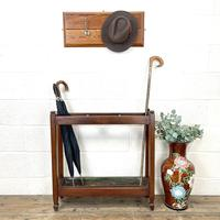 Antique Mahogany Three Section Stick Stand