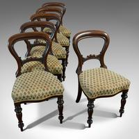 Antique Set of 6 Dining Chairs, English, Walnut, Balloon Back, Victorian c.1850 (11 of 12)