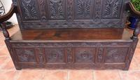 Country Oak Carved Settle Depicting Phoenix 1750 (2 of 13)