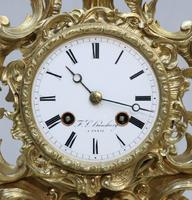 French Bronze Gilt Rococo Style Mantel Clock by Vincenti (2 of 8)