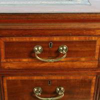 Victorian Mahogany & Satinwood Pedestal Desk (6 of 8)