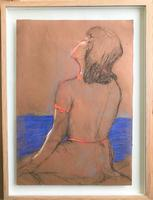 Original pastel 'The sun bather' by Dennis Gilbert NEAC. B.1922. From a studio collection (2 of 2)