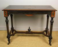 Outstanding Aesthetic Ebonised Burr Walnut Table c.1870 (4 of 10)