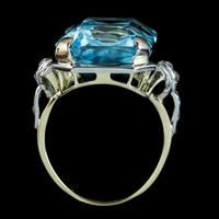 Aquamarine Diamond Cocktail Ring 14ct Gold 14.50ct Scissor Cut Aqua (6 of 8)