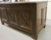Large 18th Century Carved Oak Coffer (2 of 8)