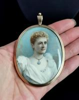 Antique Portrait Miniature, Mourning Pendant, 9ct Gold (11 of 12)