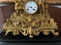 Large Superb Original 19th Century Glass Domed Gilt Mantle Clock For Minor Tlc (7 of 14)