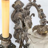 Pair of Ornate Bronze Twin-branch Wall Light Fittings (2 of 3)